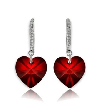 Sterling Silver Heart Dangle Earrings Created with Swarovski Crystals - Ruby - Silver - C2186Y3YDM4