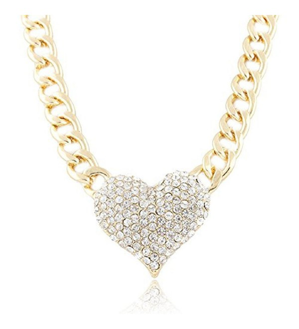Lookatool Ladies 3D Heart Pendant with a 16 Inch Adjustable Link Chain Necklace - CT124GLD0HF