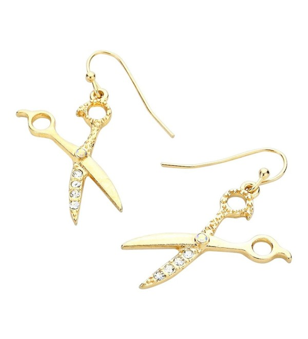 Liavys Scissors Fashionable Earrings Sparkling - Gold Plated - CD1261NURVN