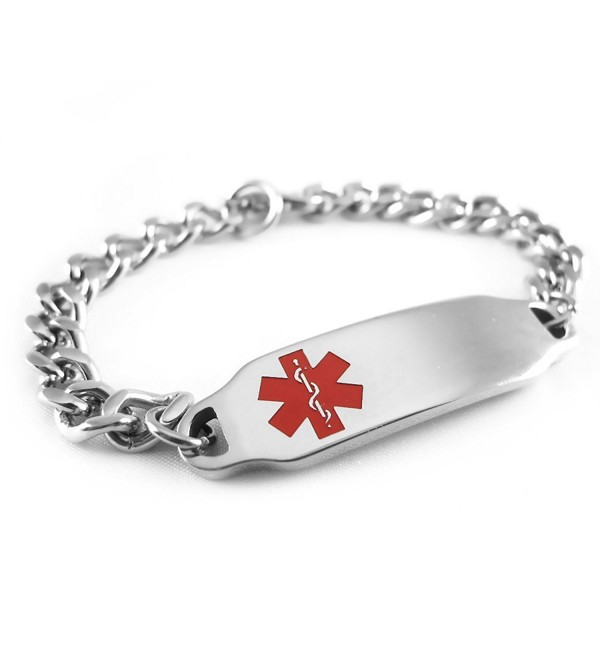 MyIDDr - Pre-Engraved & Customizable Epilepsy Medical Alert ID Bracelet- Red Symbol - CN116JRLNC9