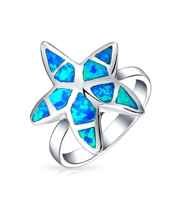 Bling Jewelry Synthetic Blue Opal Nautical Starfish Sterling Silver Ring - CX110OG5J3Z
