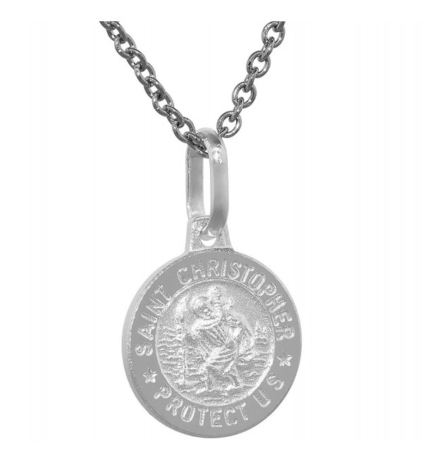 Dainty Sterling Silver St Christopher Medal Necklace 1/2 inch Round Italy 0.8mm Chain - CU111413BKR