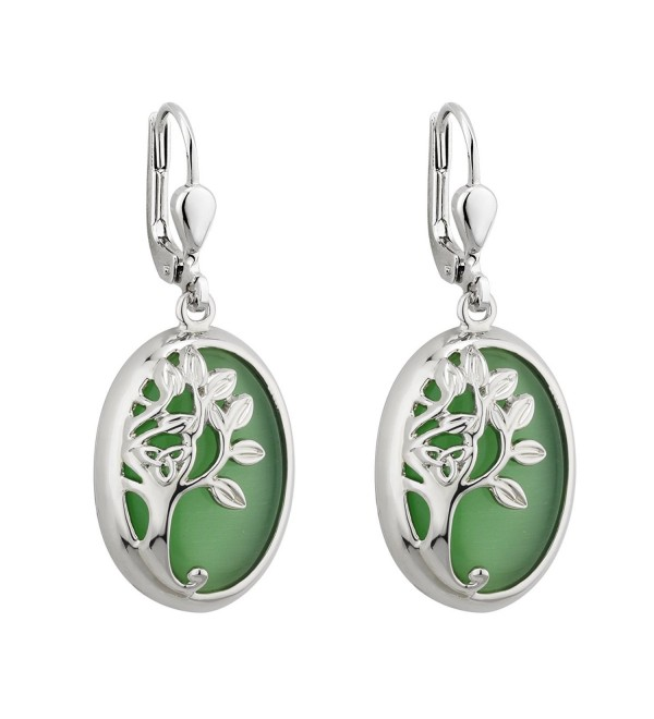 Tree of Life Drop Earrings Rhodium Green Irish Made - CN11YMZJ6ZB