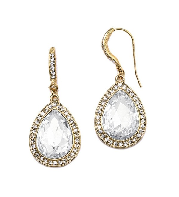 Mariell Gold Pear-Shaped Crystal Dangle Earrings for Weddings- Bridal- Prom- Bridesmaids & Fashion Glam - CZ12O8X8EQS