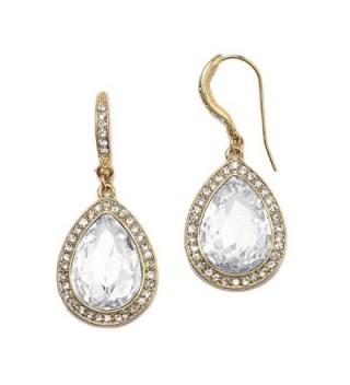 Mariell Gold Pear-Shaped Crystal Dangle Earrings for Weddings- Bridal- Prom- Bridesmaids & Fashion Glam - CZ12O8X8EQS