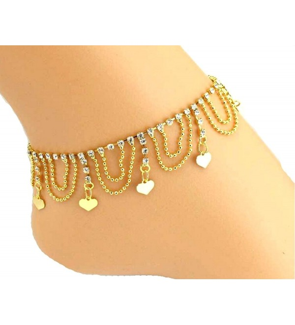 JY Jewelry Gold-plated wave chain heart sequins charms Rhinestones Anklet - CO11VD7401V
