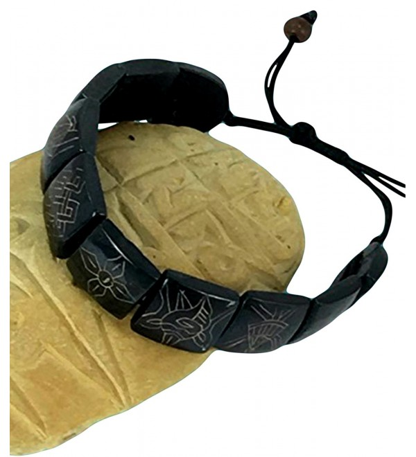 Carved Dark Yak Bone Bracelet with Eight Auspicious Symbols - CZ116H00SUV