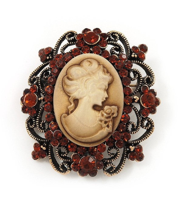 Antique Gold Amber Coloured Diamante 'Cameo' Brooch - 4.5cm Length - CJ118TC6O6H
