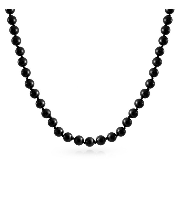 Bling Jewelry Simulated Pearl Black Sterling Silver Necklace - C9114MERYH9