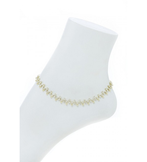 Alternate Rhinestone Anklet - Gold - C3183O8RK59