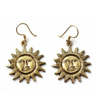 Bronze Bohemian Hippie Boho Sun Drop Dangle Earrings Fish Hook Charm Vintage Thailand Made Jewelry - CG12CBVKWRN