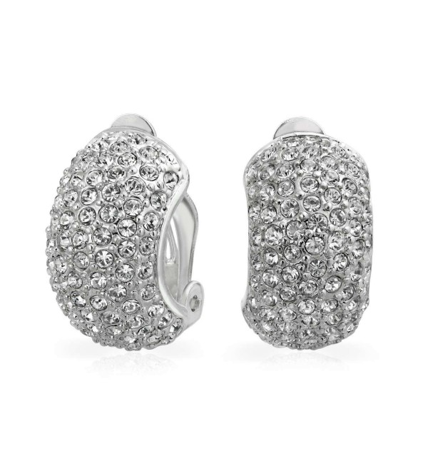 Bling Jewelry CZ 7 Row Half Hoop Huggie Clip On Earrings - CA1164ZT07L