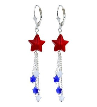 Body Candy Handcrafted Silver Plated Leverback Patriotic Star Drop Earrings - C1113Y45INZ