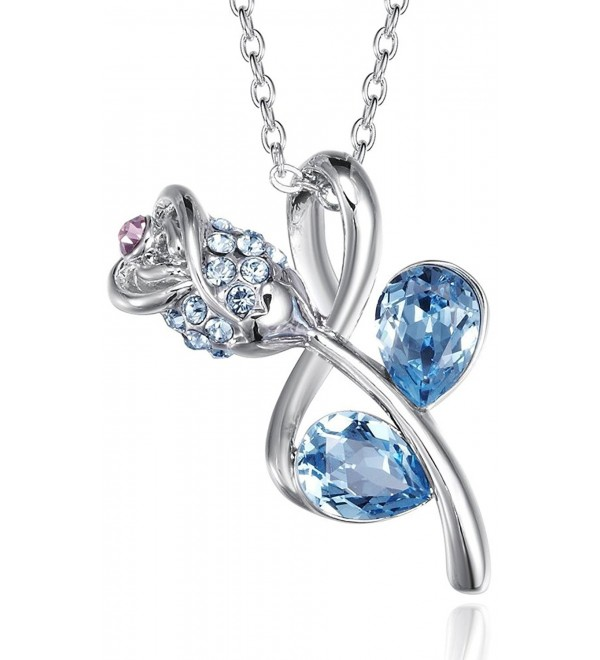 FAPPAC Teardrop Flower Pendant Necklace Enriched with Swarovski Crystals - CF127EV5AYJ