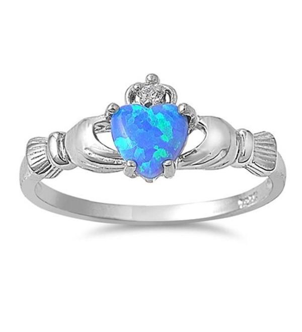 9MM .925 Sterling Silver BLUE LAB CREATED OPAL IRISH Claddagh (2 HANDS) Ring3-10 - CN110IDV5BT