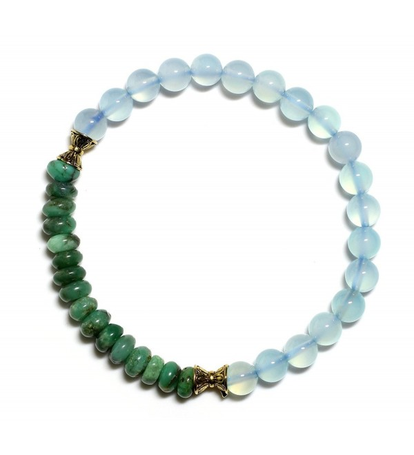 Raviga Handmade Myanmar Style 6MM Gemstone Stretch Bead Bracelet - Blue Chalcedony Medium - CC12MZW5LPS