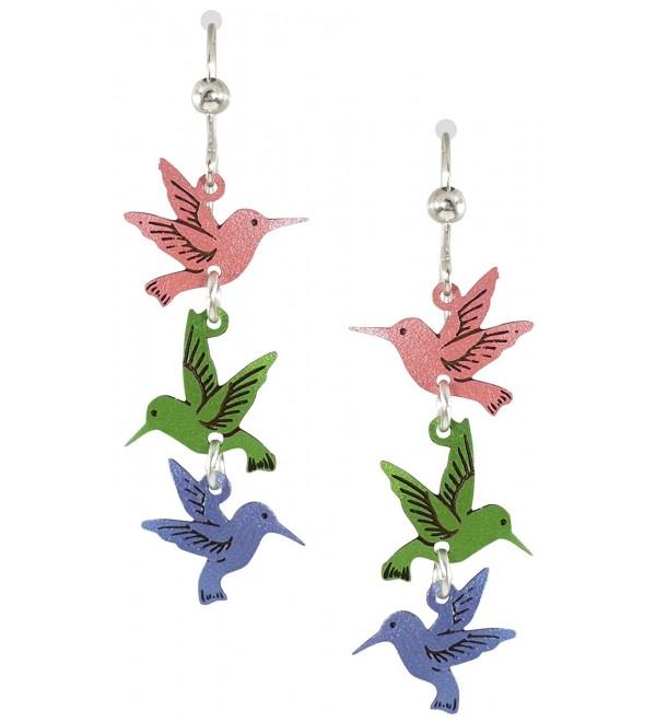 Sienna Sky Pink Green Blue Hummingbird Sterling Silver Dangle Earrings 539 - C111DMMIAQ5
