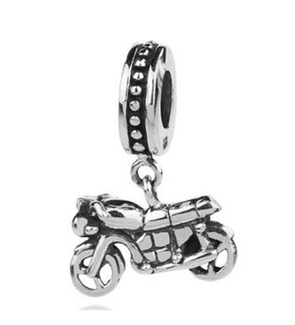 Sterling Silver Motorcycle Dangle Bead Charm - CB116ENWA29