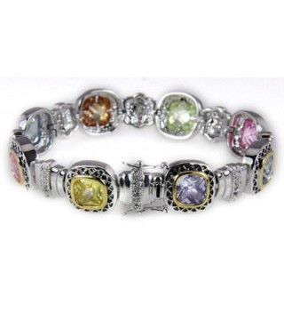 4031028 Multi Color Tennis Bracelet CZ's Fashion 2 Tone Very Beautiful - CT11E6X5WRP