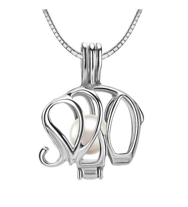 "925 Sterling Silver Elephant Locket Pendant Necklace with 6-7mm Round Akoya Cultured Pearl 16"" 18"" - CZ120PD8PKF"