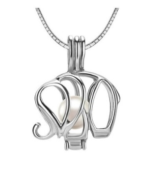 """925 Sterling Silver Elephant Locket Pendant Necklace with 6-7mm Round Akoya Cultured Pearl 16"""" 18"""" - CZ120PD8PKF"""