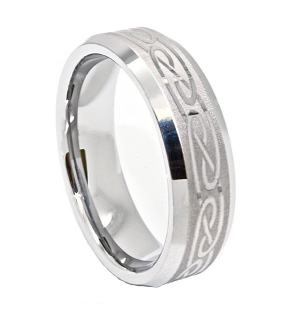 8mm Silver-colored Tungsten Band with Laser Etched Celtic Design Wedding Band - C0118Y5OG41