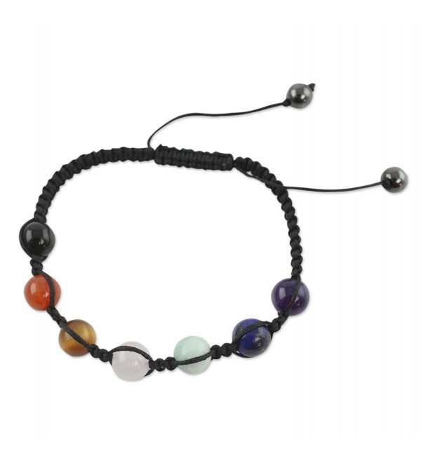"NOVICA Multi-Gemstone Nylon Macrame Adjustable Length Beaded Chakra Bracelet- 6.25"" 'Well-Being' - CR127WH4EI9"
