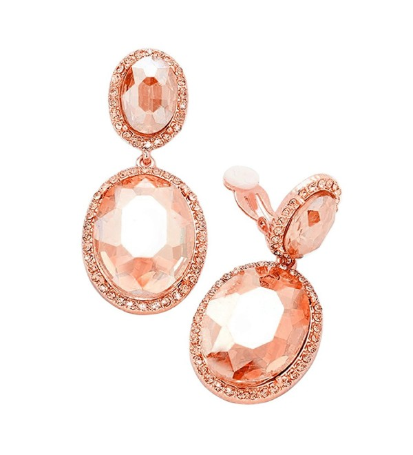 Rosemarie Collections Women's Double Oval Crystal Evening Clip On Earrings - Rose Gold/Peach - CB186SDEQZQ