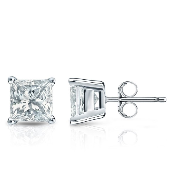 Sterling Silver Simulated Princess Cut CZ Diamond Stud Earrings 4 Prong (3mm- 7mm- AAA quality) - CN18200XO0S