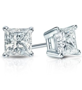 Sterling Simulated Princess Diamond Earrings
