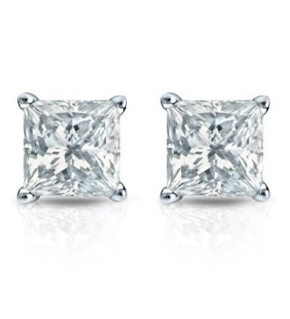 Sterling Simulated Princess Diamond Earrings in Women's Stud Earrings