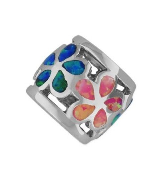 Sterling Silver Synthetic Multi Color Opal Plumeria Bead Charm/Pendant - C111GM0WL7J