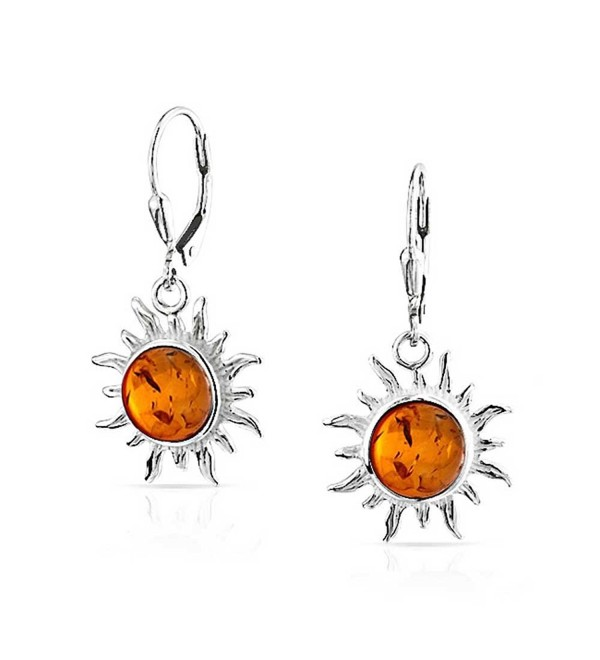 Bling Jewelry Synthetic Amber Sun Sterling Silver Dangle Leverback Earrings - CO11FXPF65X