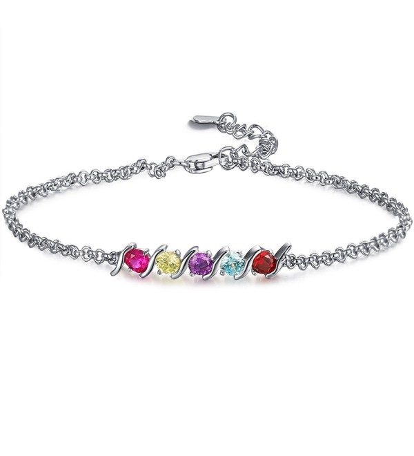 Caperci Sterling Silver Adjustable Round Created Gemstone Birthstone Bracelet for Women- 7'' - CL185LCHO4L