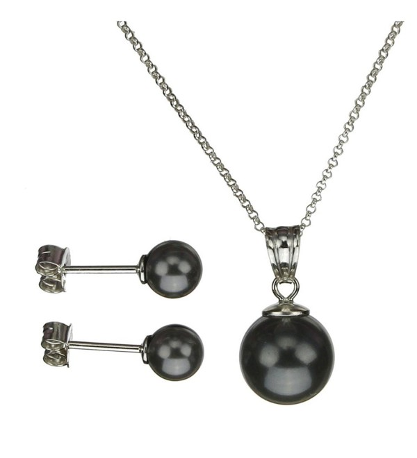 Sterling Silver Chain Necklace Earrings Black Simulated Pearl Pendant Made with Swarovski Crystals - CP11NXIH3WL