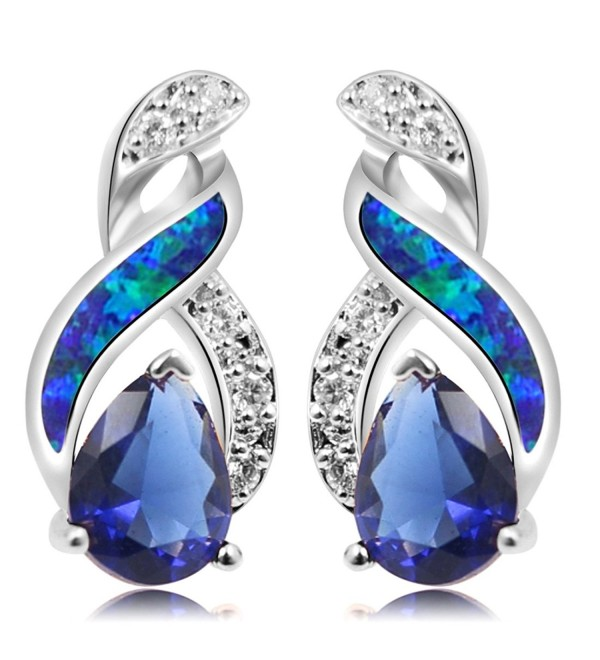 Sterling Silver Stud Earring Yellow Gold Blue Opal Mystic Topaz Sapphire Women Jewelry - CT186785YE4