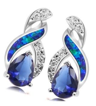 Sterling Silver Earring Sapphire Jewelry in Women's Stud Earrings