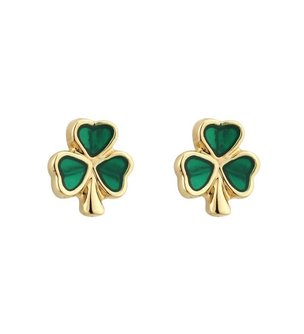 Shamrock Earrings Small Studs Gold Plated & Enamel Irish Made - CH116D54RJD