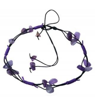 Bijoux De Ja Handmade Purple Stone Chips Anklet Bracelet Free Size - C611PY21AFT