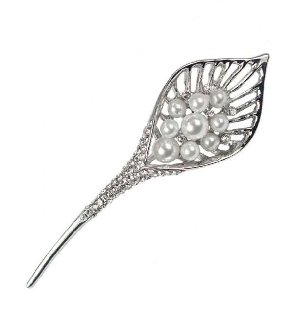 Calla Lily Simulated Pearl Rhinestone Brooch Pin - Silver - C51206XDSQF