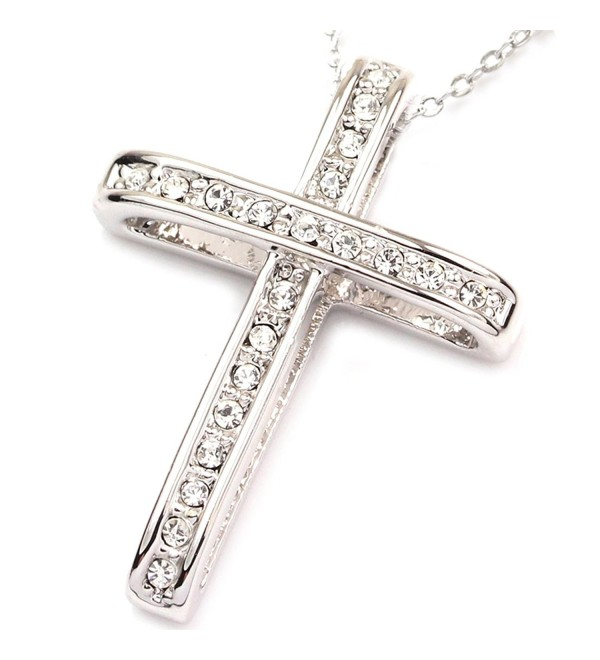 FC JORY White & Rose Gold Plated Rhinestone Cross Cubic Zirconia Pendant Necklace - silver - C411PKWBA1H