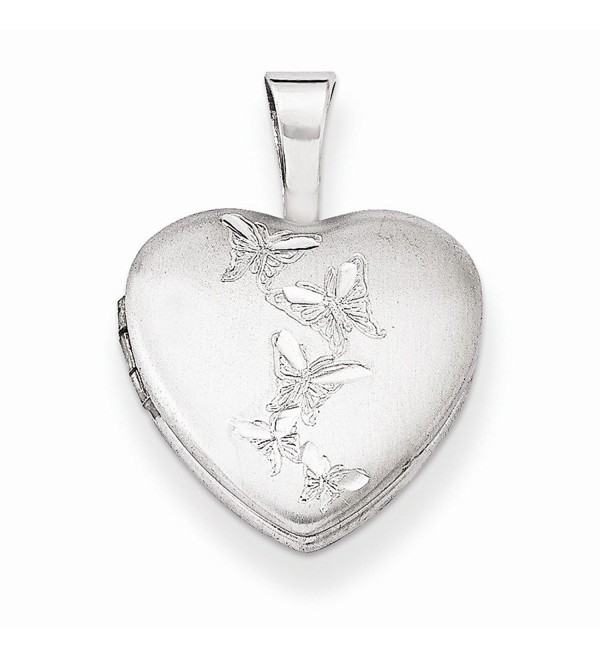 Sterling Silver Butterflies 12mm Heart Locket - CL11R2E05BN