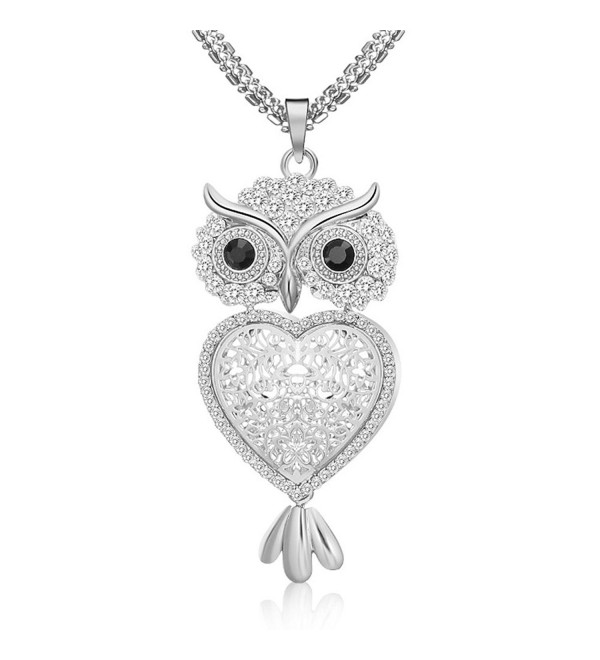 "29"" Vintage Night Owl Heart Pendant Necklace Rhinestone Alloy Long Chain Silver Plated - Silver - C1188N8RWOG"