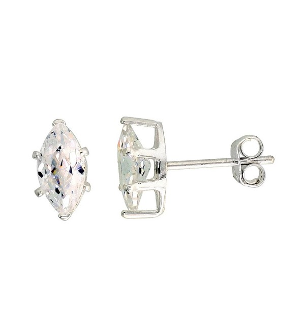 Sterling Silver Cubic Zirconia Marquise Earrings Studs 1 carat/pair - CY1117MDRAL