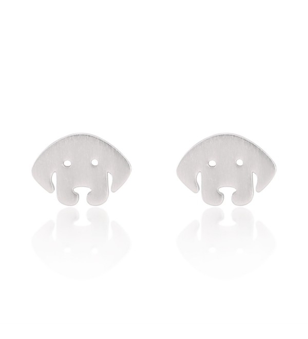 925 Sterling Silver Cut-Out Mini Puppy Dog Face Matte Finish Stud Earrings - Nickel Free - C811W4KATL5