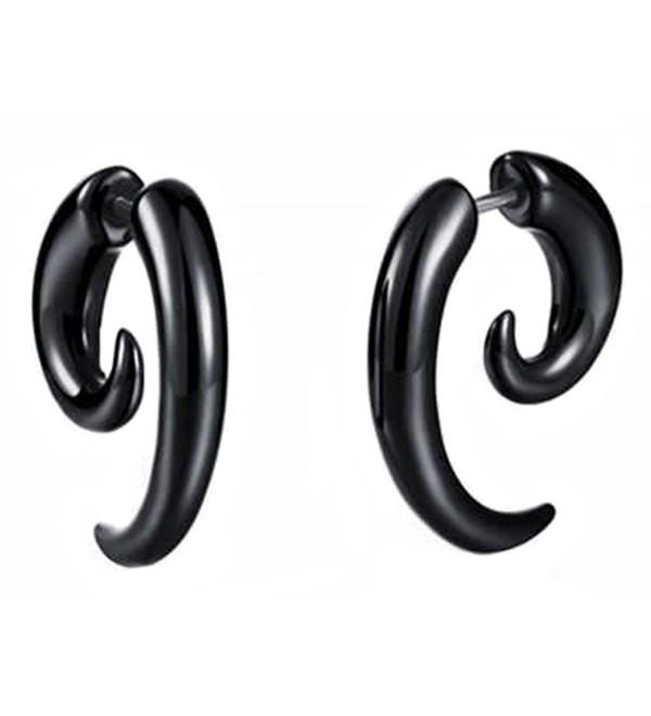 AnVei-Nao Black PVC Acrylic Punk Snails Spiral Ear Stud Piercing Earring 3pair - CN12JBTU7KP