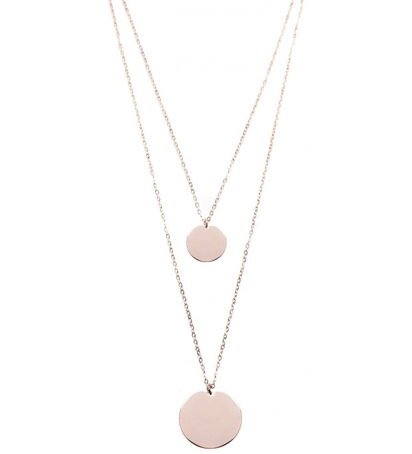 Layered Necklace Circle Pendants Rose Gold | Double Row Necklace 2 Round Charms - CD18222M2MY