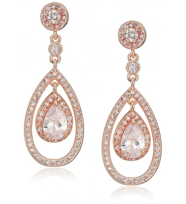 Anne Klein Rose Gold Tone Pave Post Orbital Drop Earrings - CH1876GIAG7
