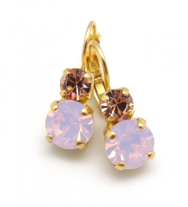 Mariana Gold Tiara Day Rosewater Opalescent & Light Peach Swarovski Gold Plated Earrings 2333 - CF12DQKSB8P