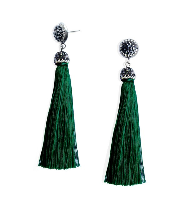 Womens Thread Tassel Earrings Rhinestones - Dark green - CQ186C7X9DK